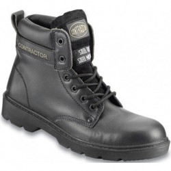 Contractor Black Leather Boot 8