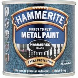 Hammerite 016 Hammered Metal Paint Black 250ml